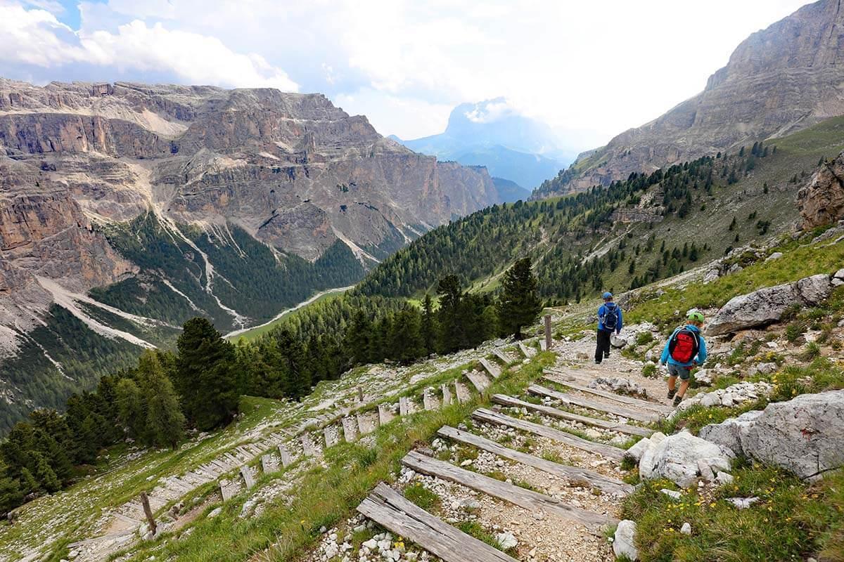 Mountain views at Rifugio Puez hike in Val Gardena Dolomites