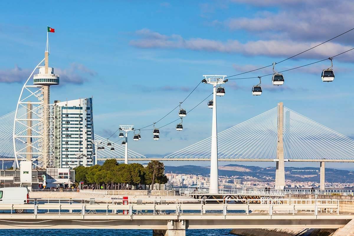 Nations Park Gondola and Vasco de Gama Tower in Lisbon