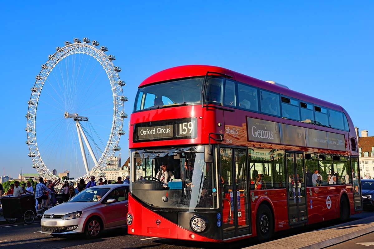 Red double decker bus and London Eye