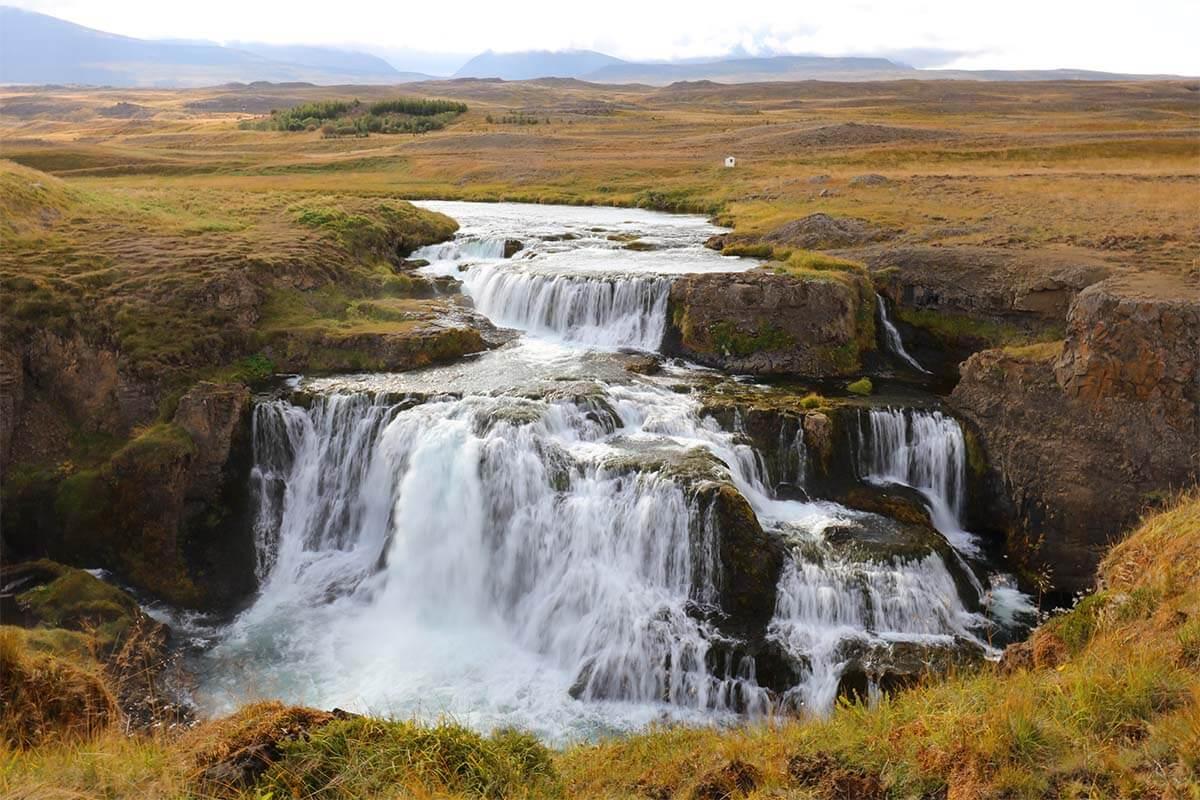 Reykjafoss waterfall in Iceland