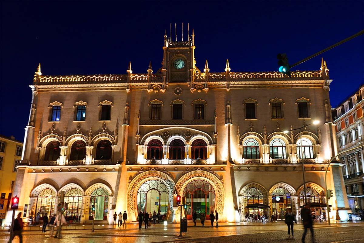 Rossio train station in Lisbon at night