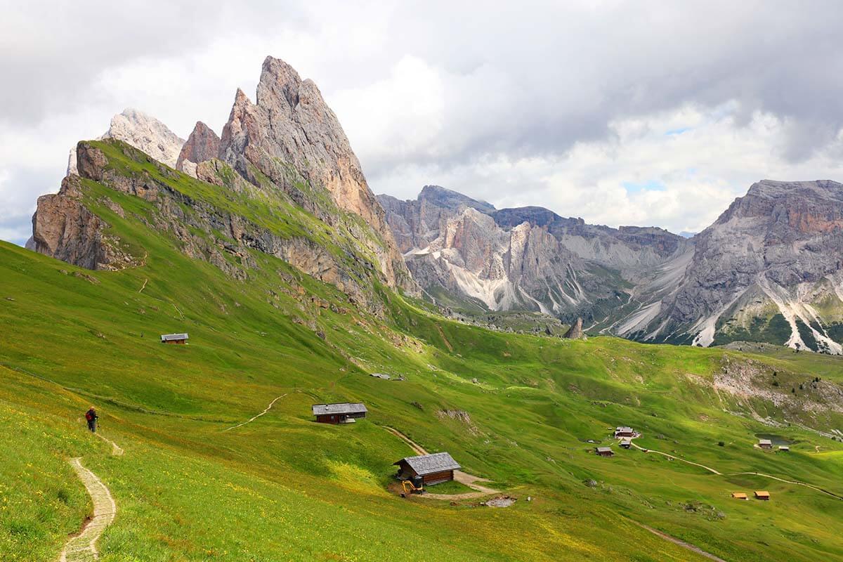 Seceda Pieralongia mountain scenery in Val Gardena Italy