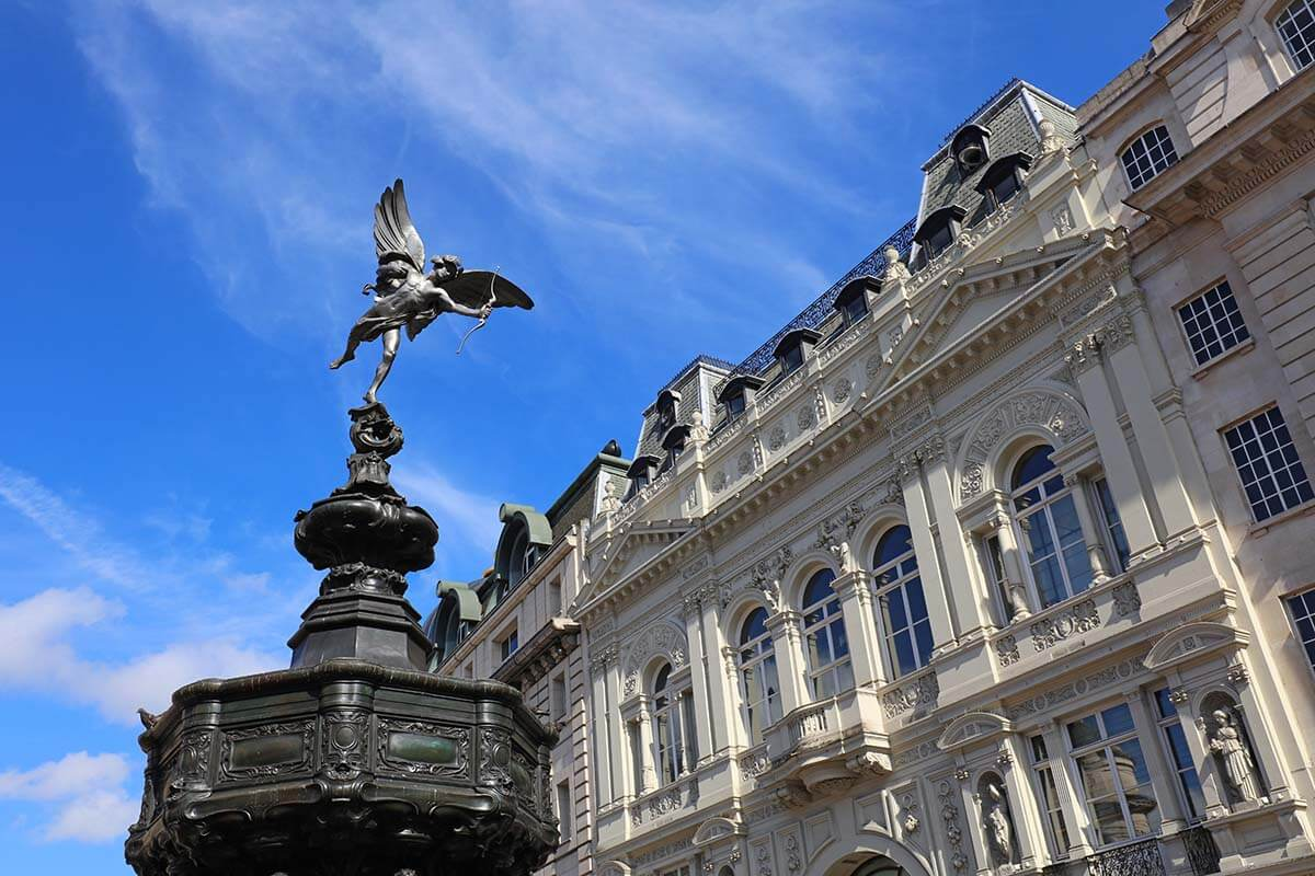 Shaftesbury Memorial Fountain at Piccadilly Circus in London