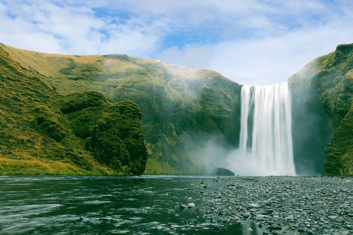 Skogafoss waterfall next to the Ring Road in southern Iceland