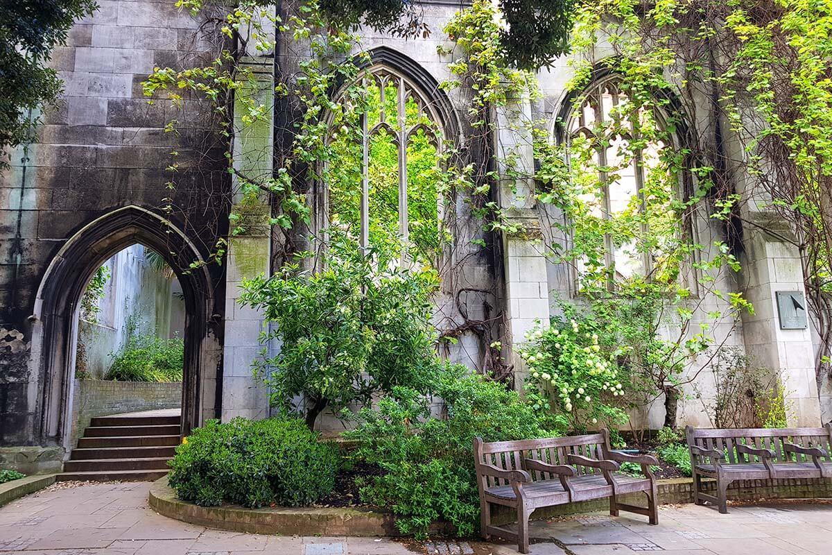 St Dunstan in the East Church Garden in London