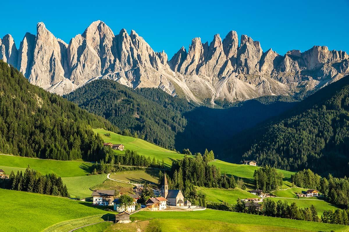 St Magdalena church in the Dolomites Italy