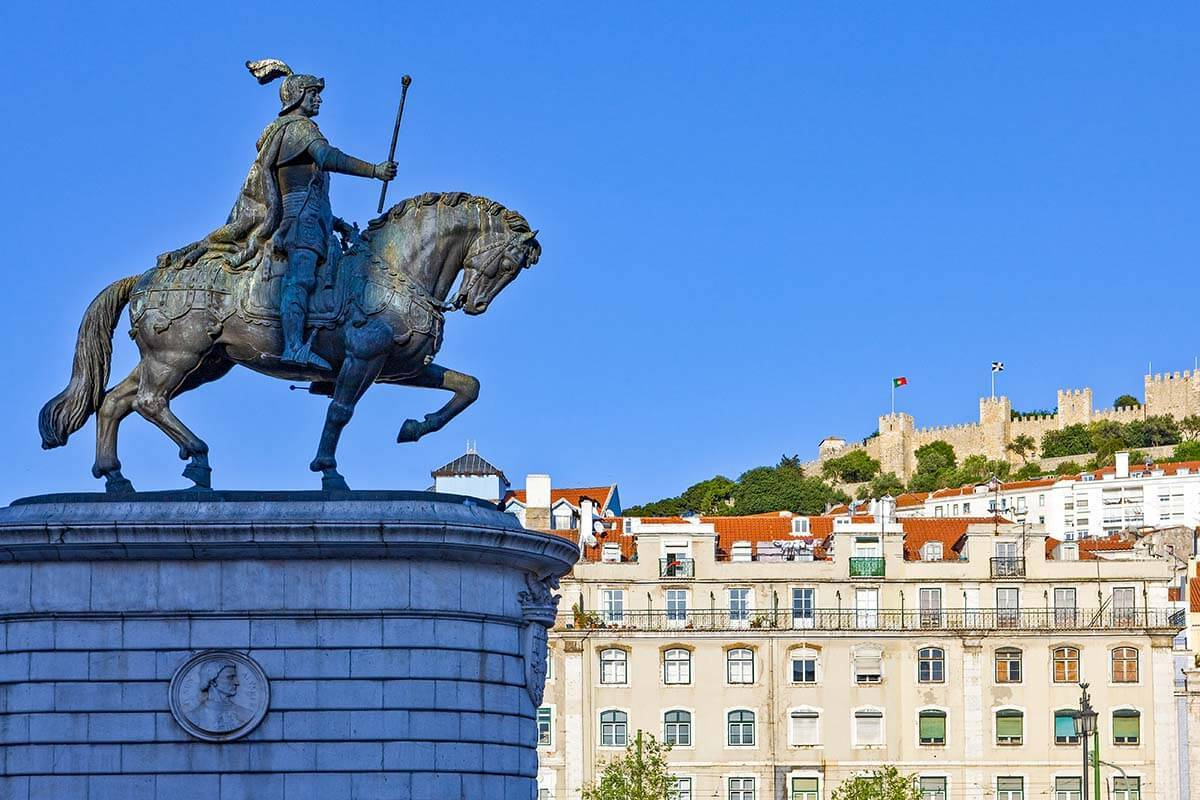 Statue of Dom Joao I at Praça da Figueira in Lisbon