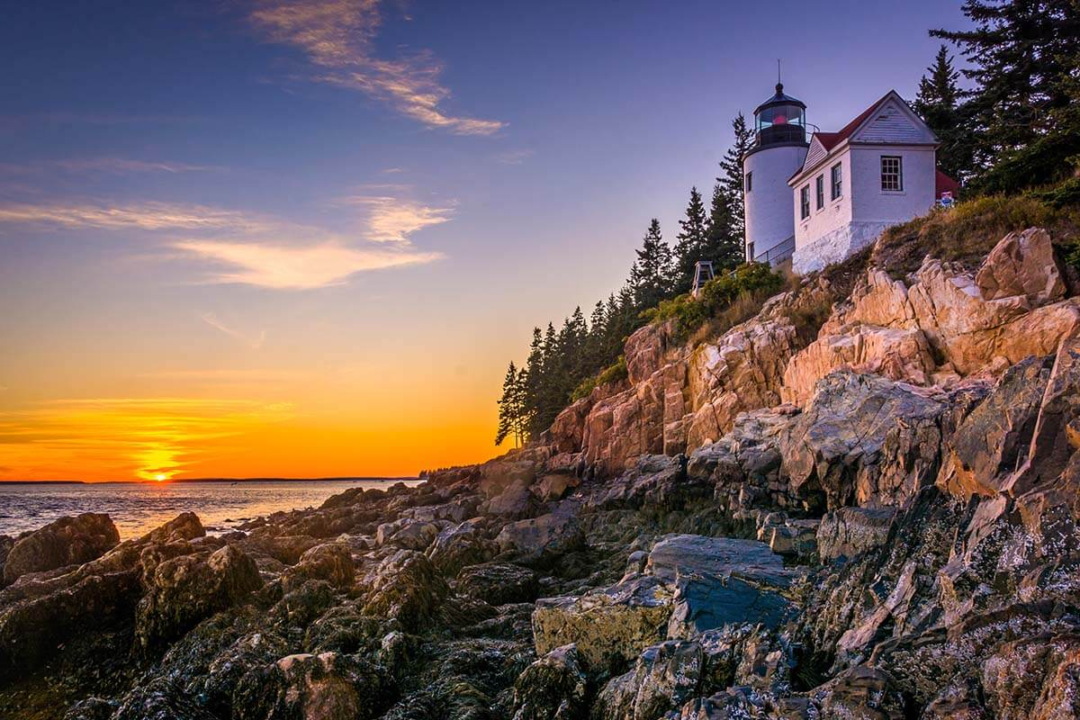Sunset at Bass Harbor Head Lighthouse in Acadia National Park