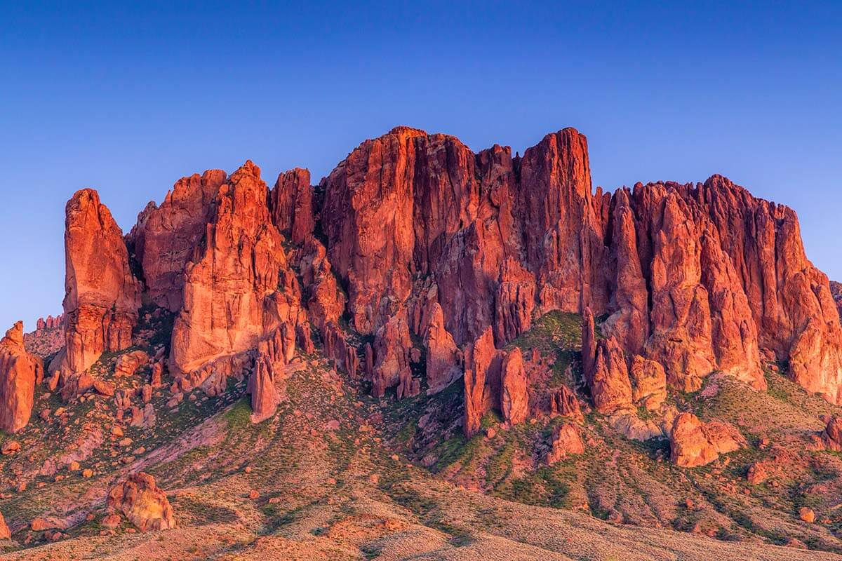 Superstition Mountains lit by an evening sun