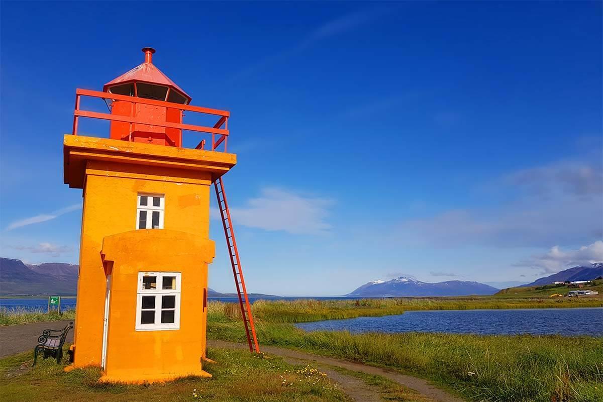Svalbarðseyri lighthouse near Akureyri in Iceland
