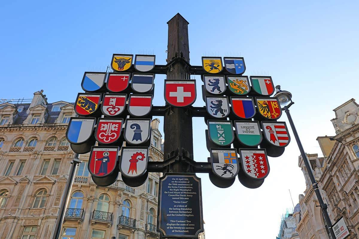 Swiss Court at Leicester Square in London