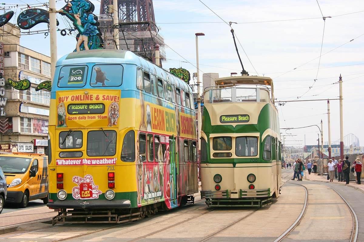 Trams on Blackpool Promenade