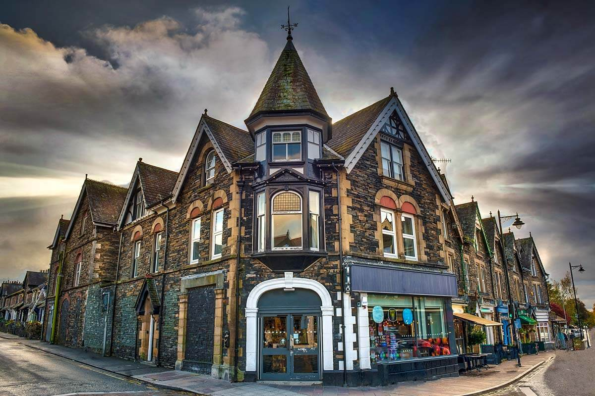 Traditional buildings in Ambleside town, Lake District UK