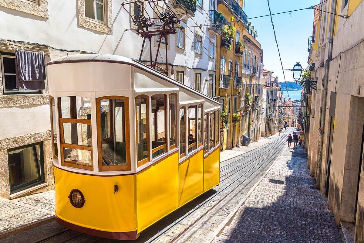 Traditional funicular on the narrow streets in Lisbon
