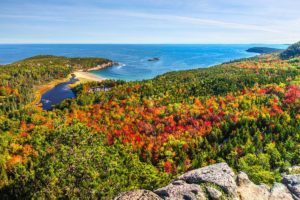 View from Beehive Trail in Acadia National Park in the fall