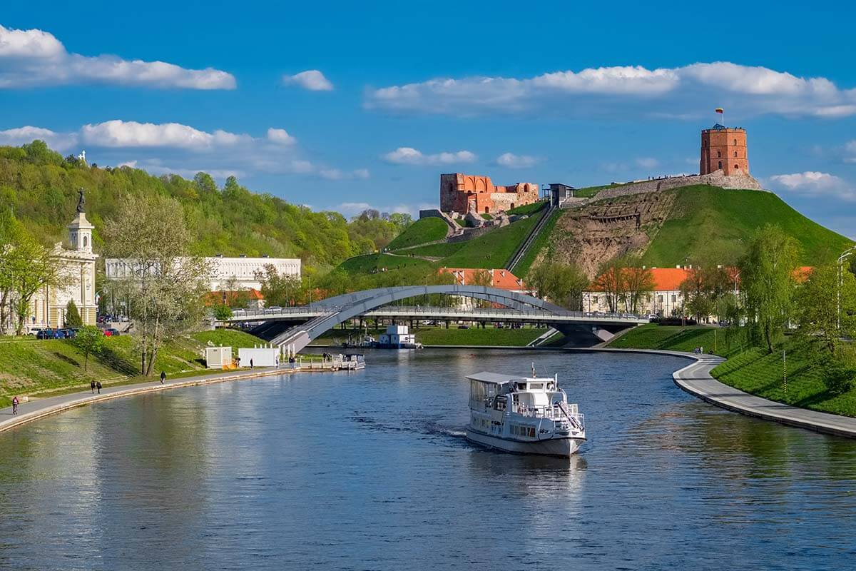 Neris River and Gediminas Castle Tower in Vilnius Lithuania