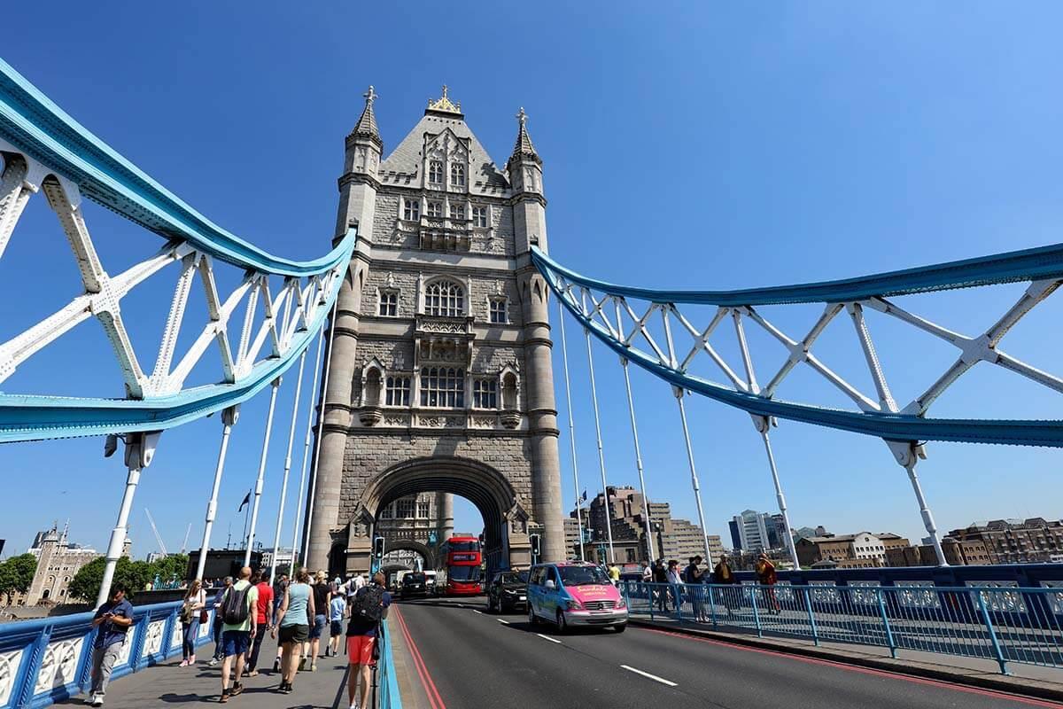 Walking over the Tower Bridge