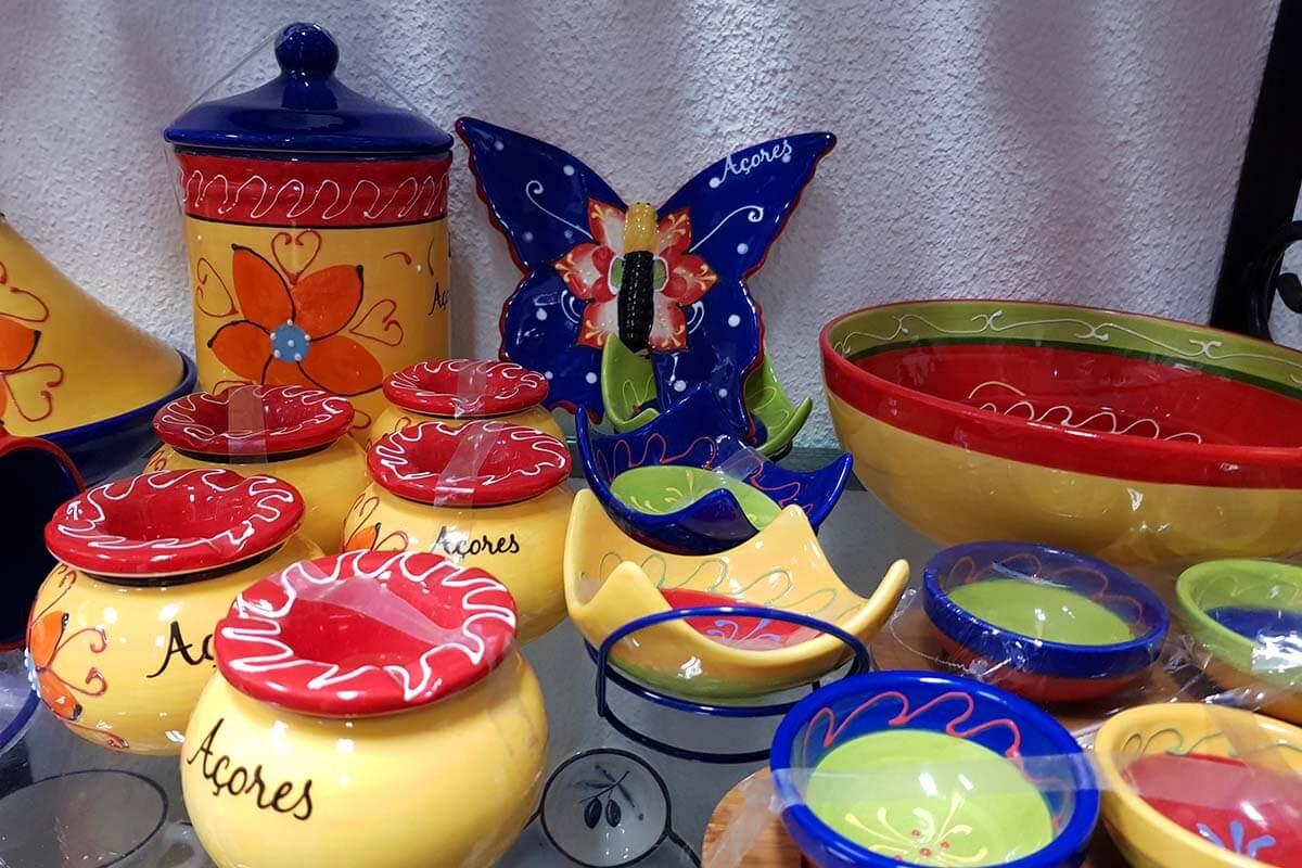 Azores souvenirs for sale in Ponta Delgada