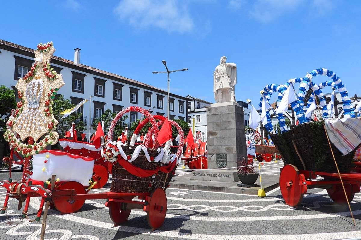Goncalo Velho Cabral town square in Ponta Delgada, Azores, Portugal