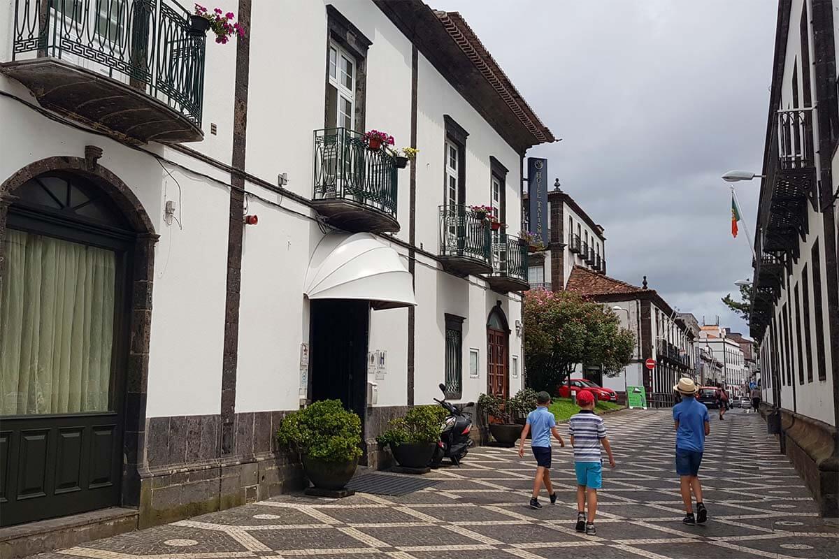 Hotel Talisman and a narrow old town street in Ponta Delgada
