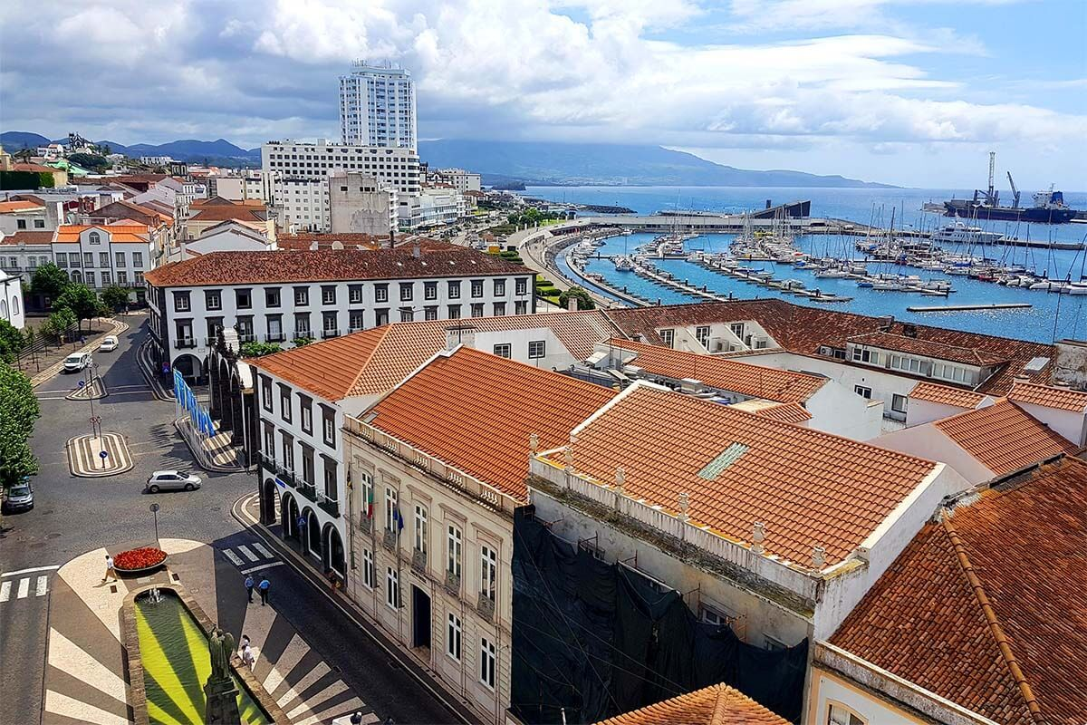 Ponta Delgada aerial view from Torre do Relogio ou Torre Sineira