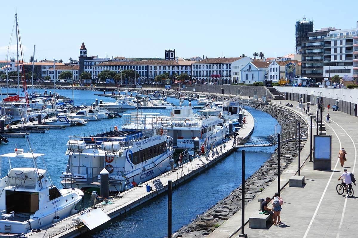 Ponta Delgada harbor and waterfront area Portas do Mar