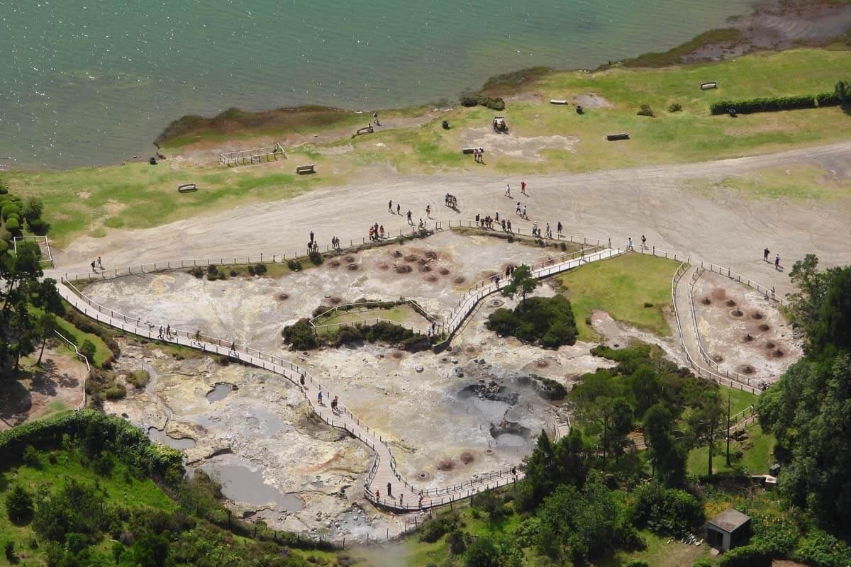 Caldeiras da Lagoa das Furnas geothermal area aerial view