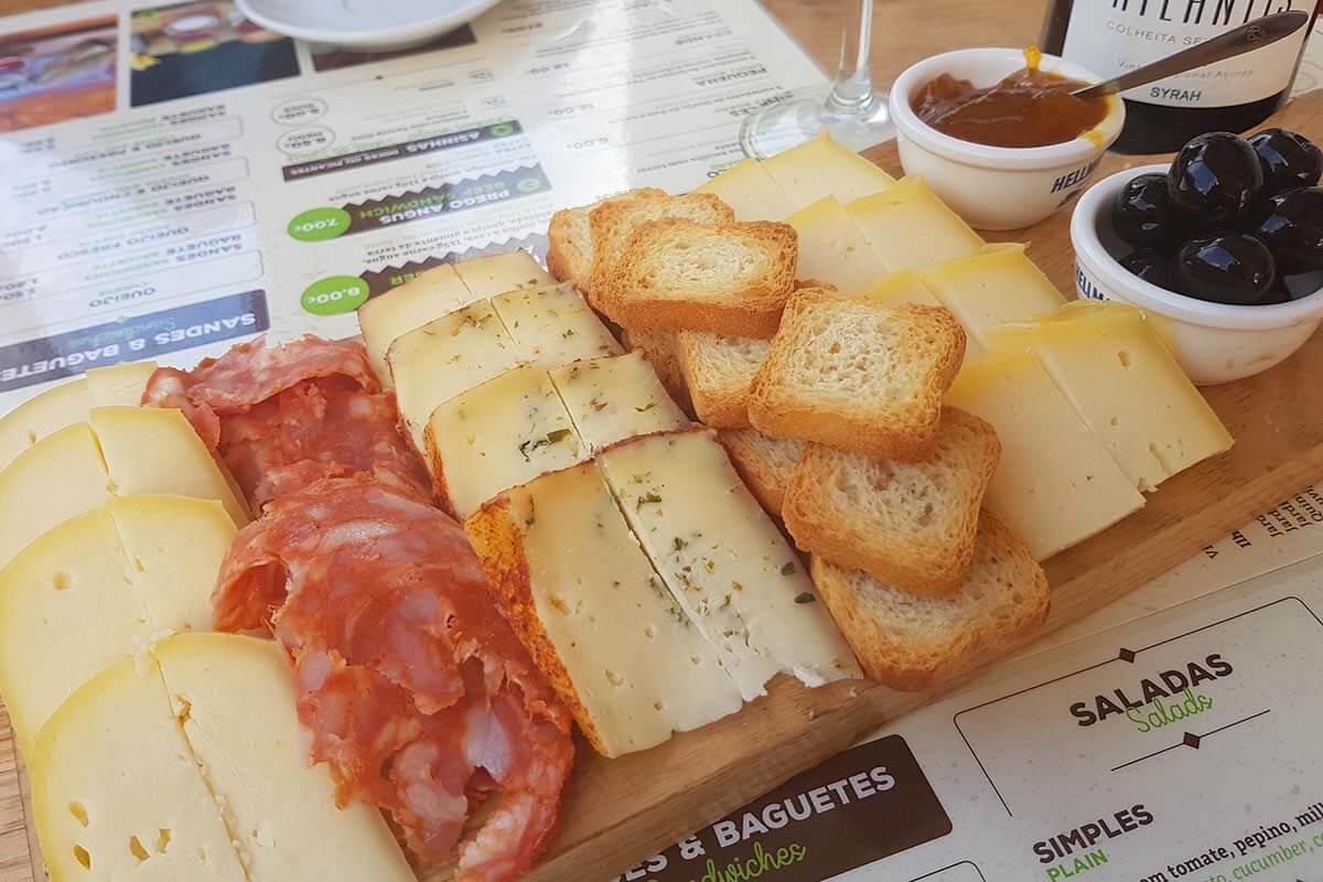 Cheese platter at Queijaria Furnense restaurant in Furnas Azores