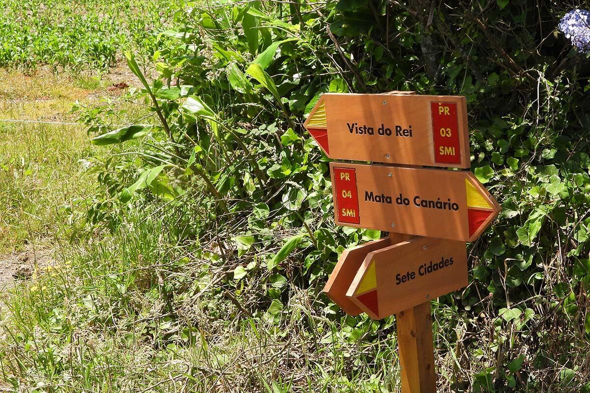 Hiking signs at Sete Cidades crater loop trail