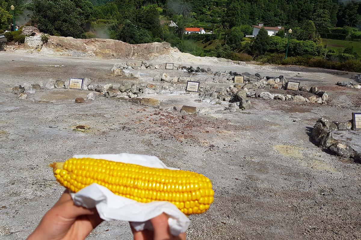 Sweet corn cooked in Caldeira das Furnas (milho doce cozido na caldeira)