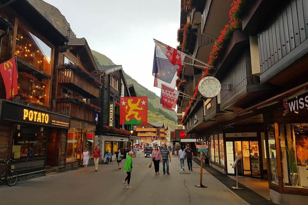 Best things to do in Zermatt - Bahnhofstrasse - the main street in town