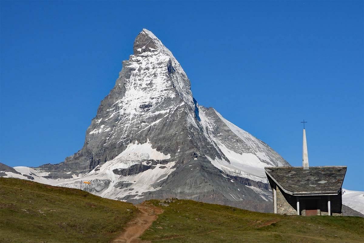 Bruder Klaus chapel at Riffelberg with Matterhorn in the background, Zermatt Switzerland