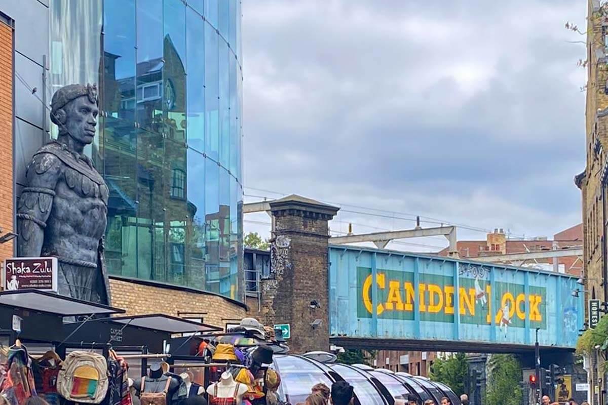 Camden Lock Market and Shaka Zulu restaurant in Camden Town London