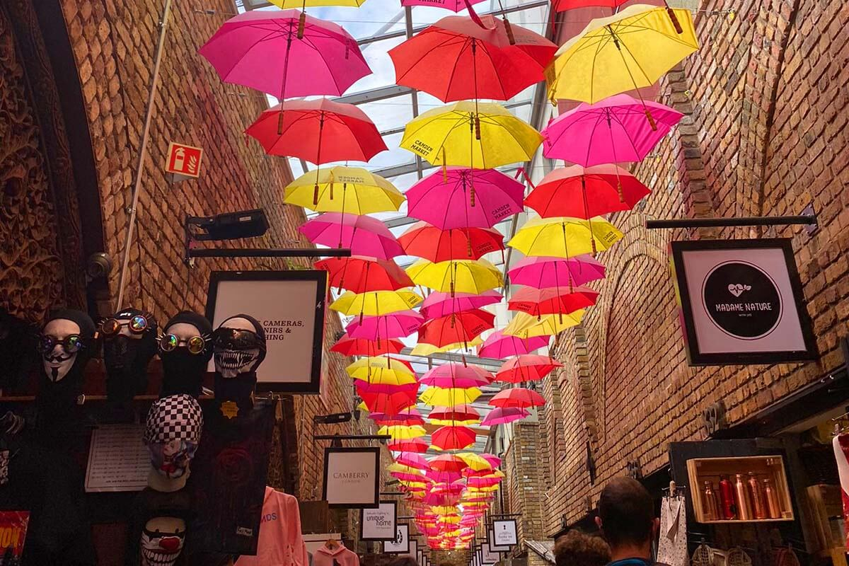 Camden Market covered alley with colorful umbrellas