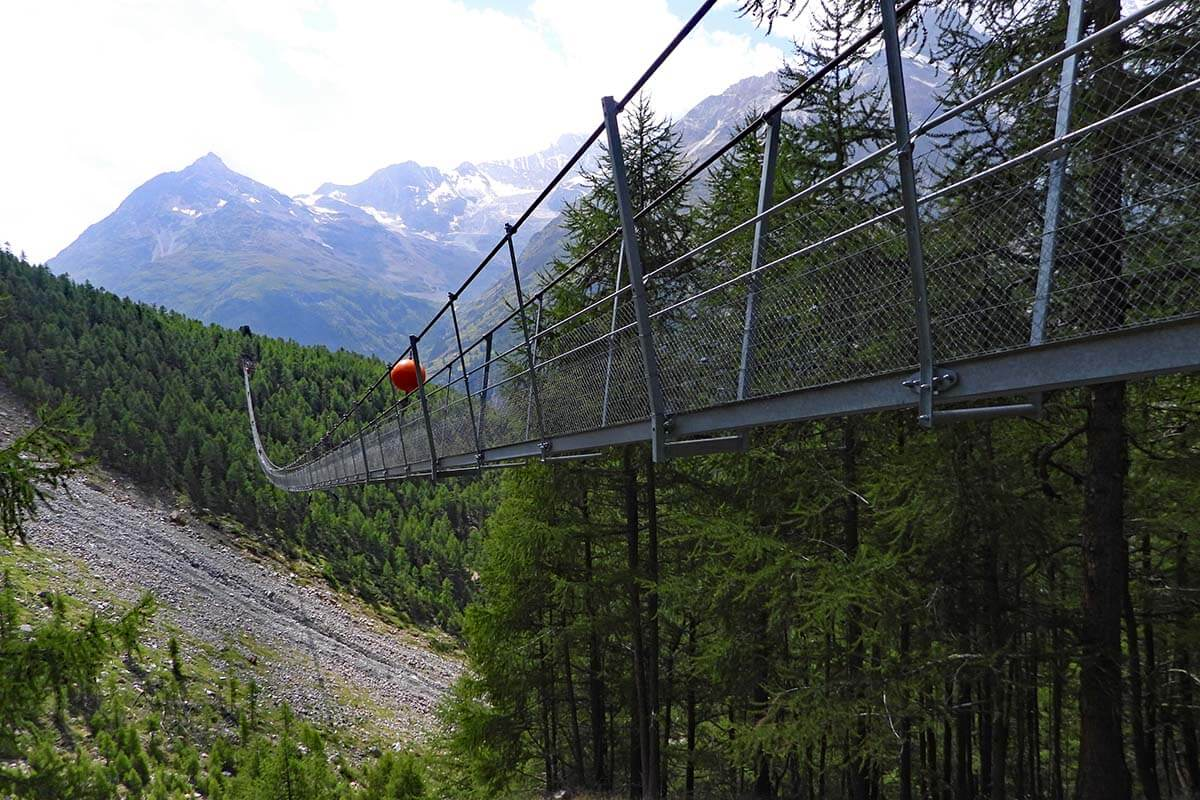 Charles Kuonen Suspension Bridge is one of the best places to see near Zermatt Switzerland
