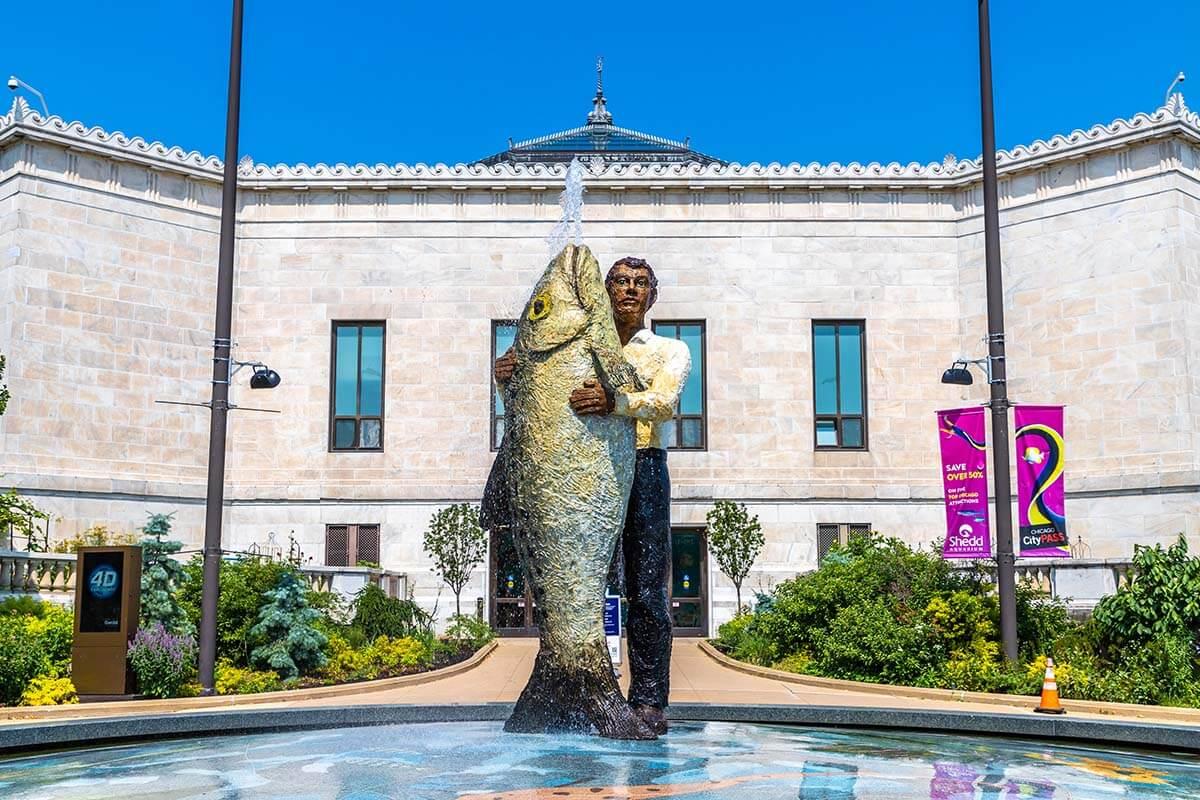 Man With Fish sculpture at Shedd Aquarium in Chicago