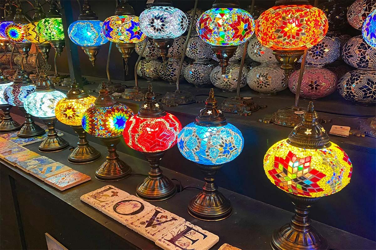 Colorful oriental lamps at Camden Lock Market in London