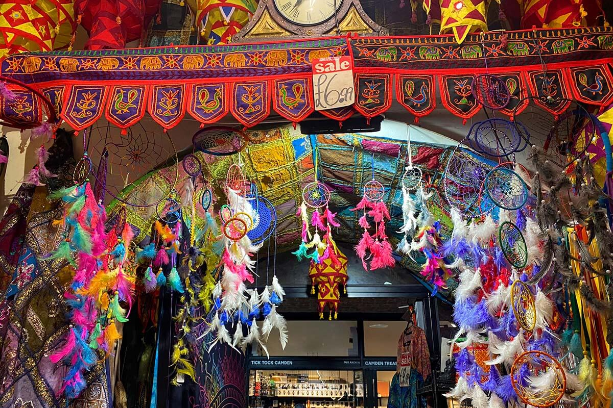 Colorful shops at Camden Market in London