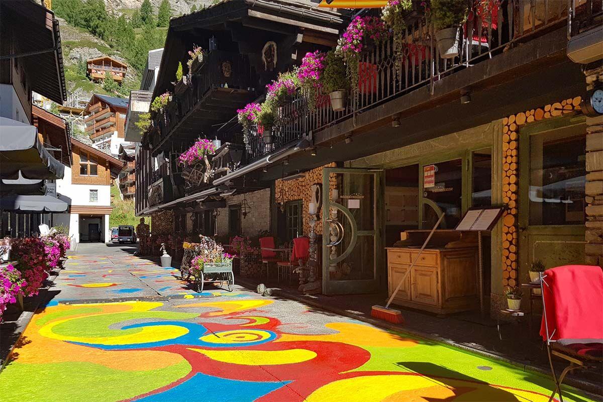 Colorful street in Zermatt town center