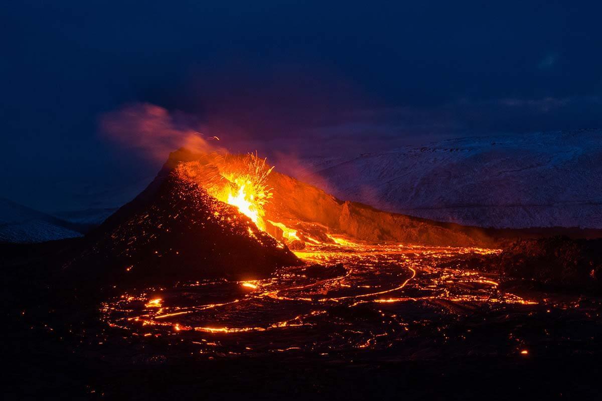 Iceland active volcano - Fagradalsfjall eruption