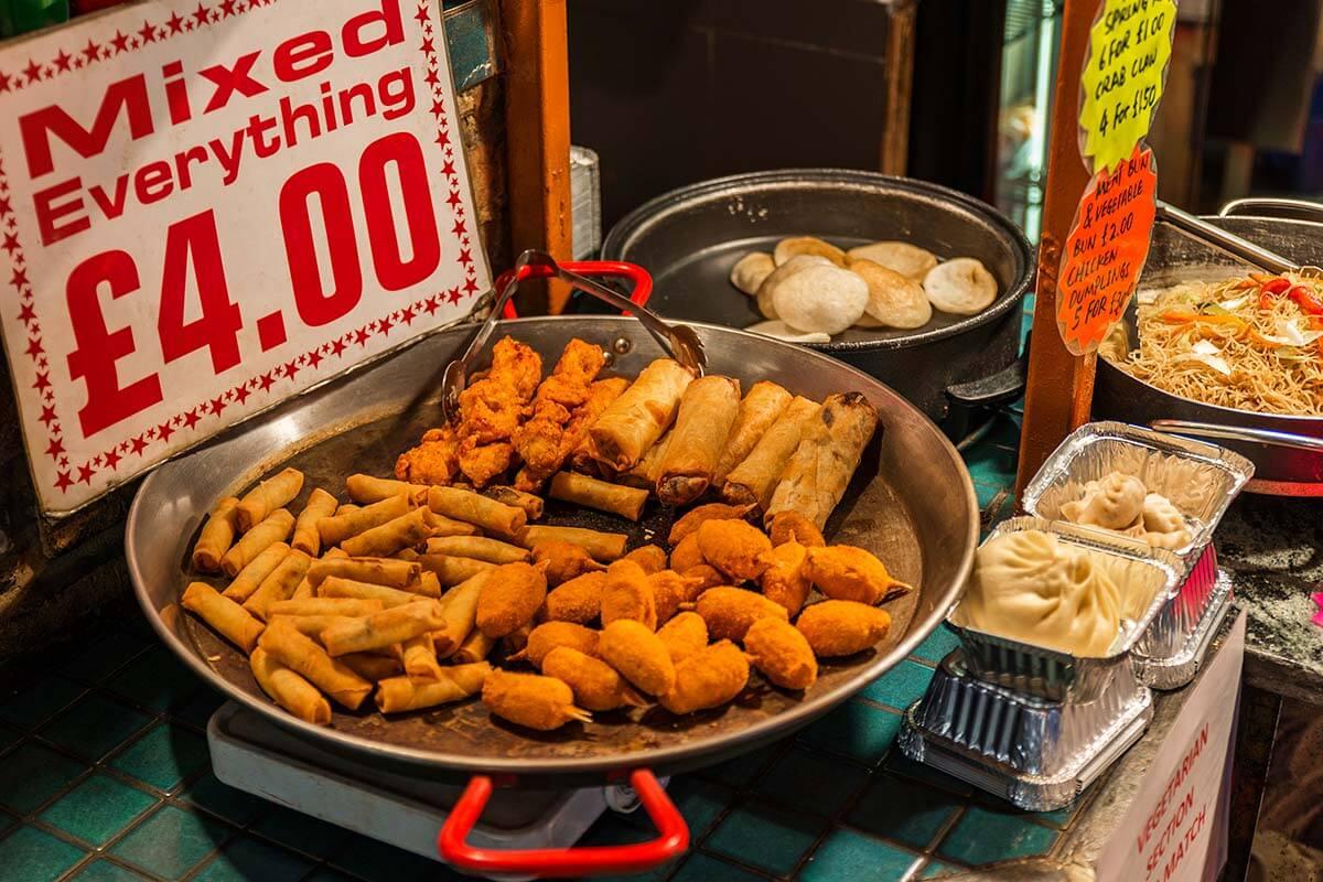 Food stall at Camden Lock Market in London