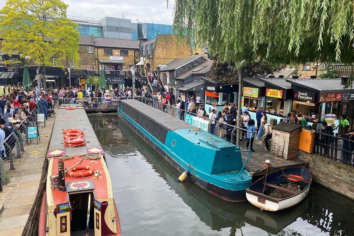 Food stalls around Regents Canal in Camden London
