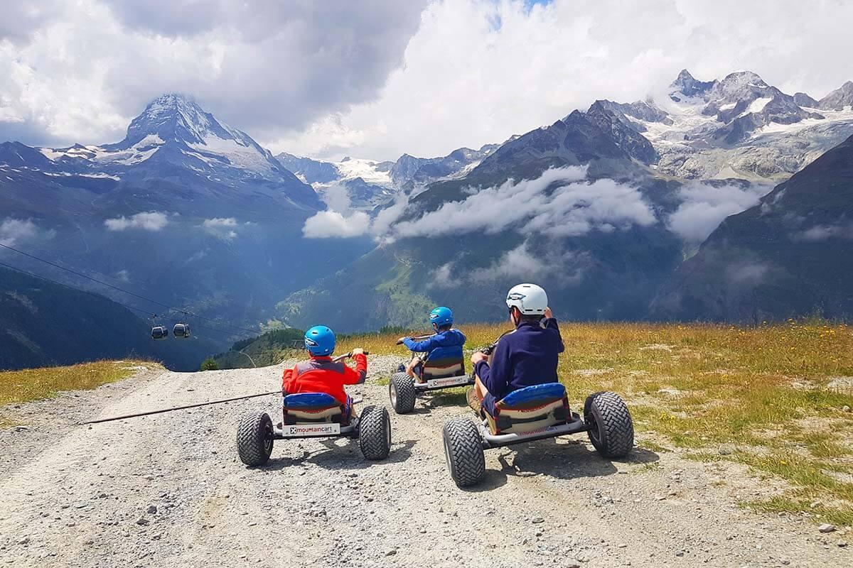 Fun things to do in Zermatt - mountain carts at Sunnegga