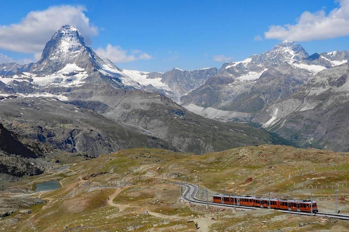 Gornergrat Railway and the Matterhorn view from Scenic Trail hike from Gornergrat to Rotenboden