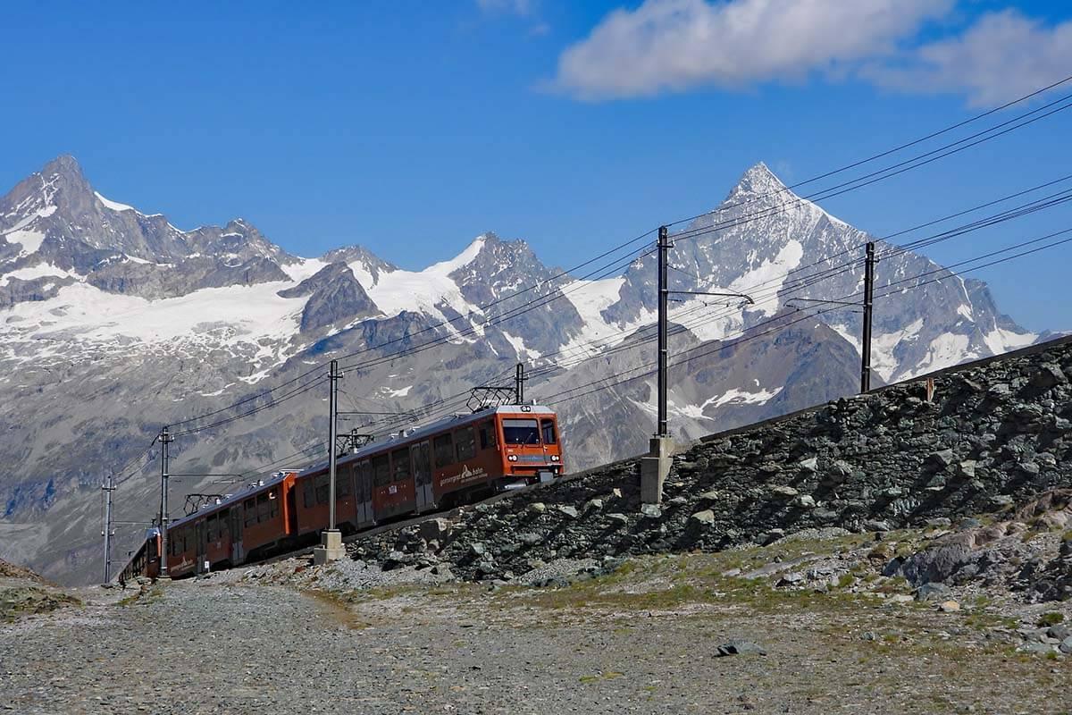 Gornergrat Railway at the beginning of the Scenic Trail hike 15 in Zermatt