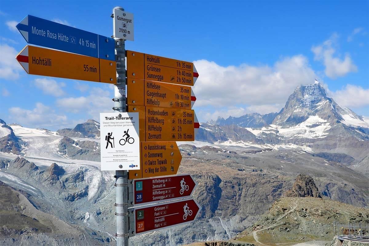 Gornergrat hiking signs