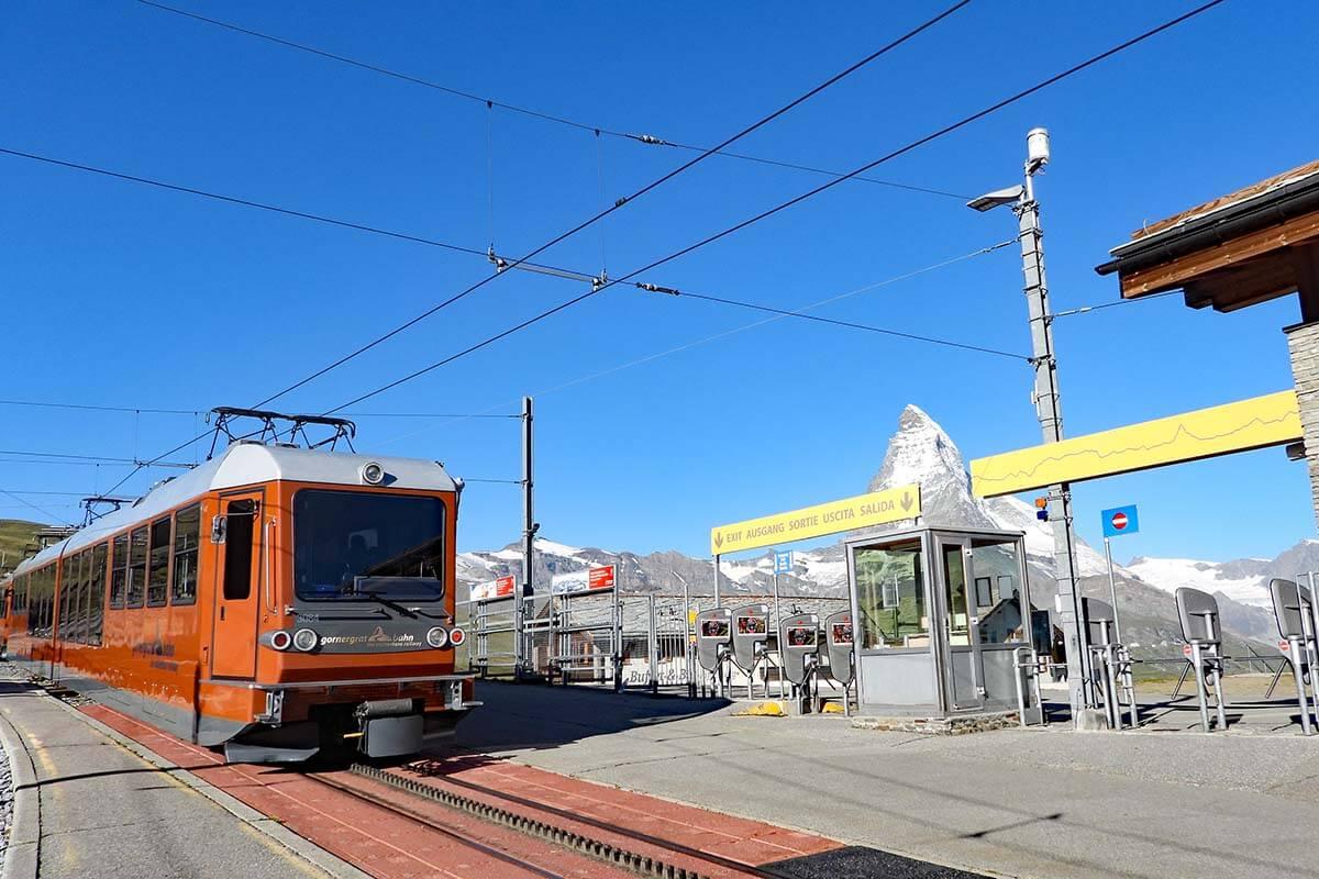 Gornergrat train at Riffelberg railway station, Zermatt Switzerland