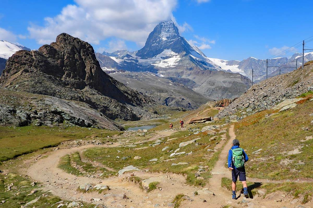 Hiking near Rotenboden and Riffelsee on the Scenic Trail from Gornergrat