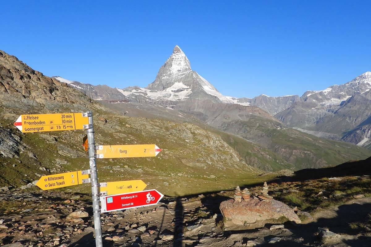 Hiking signs at Rotenboden train station in Zermatt Switzerland