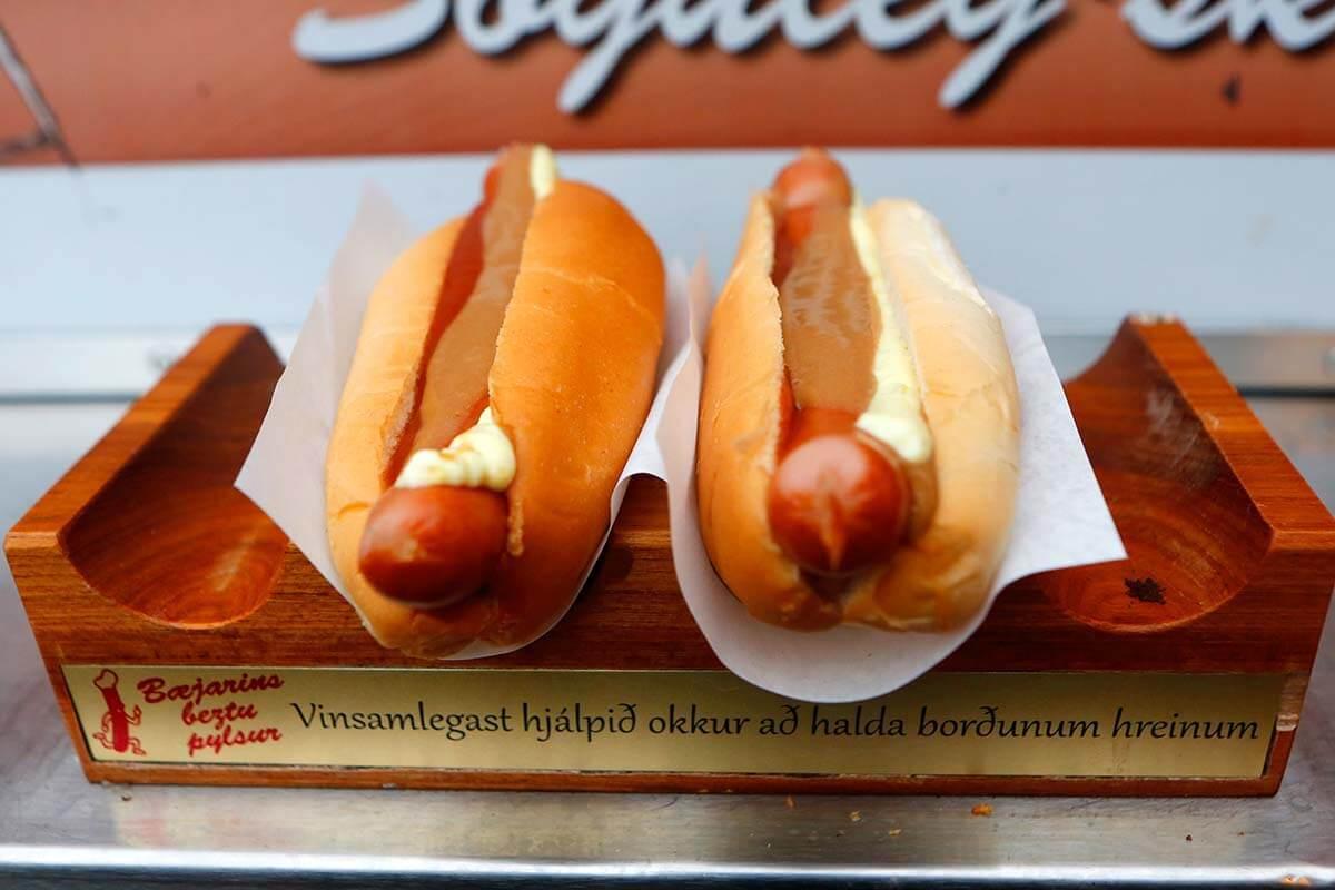 Icelandic hot dogs at Baejarins Beztu Pylsur in Reykjavik